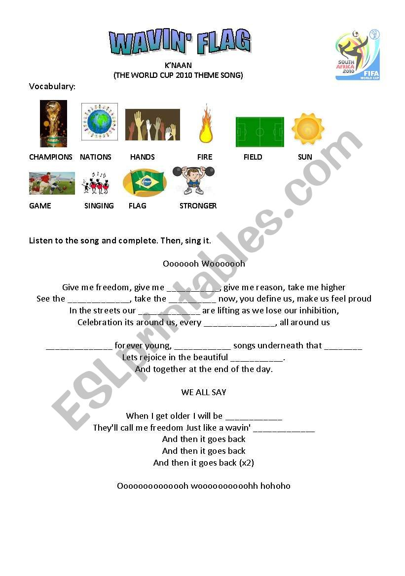 World Cup song for kids worksheet