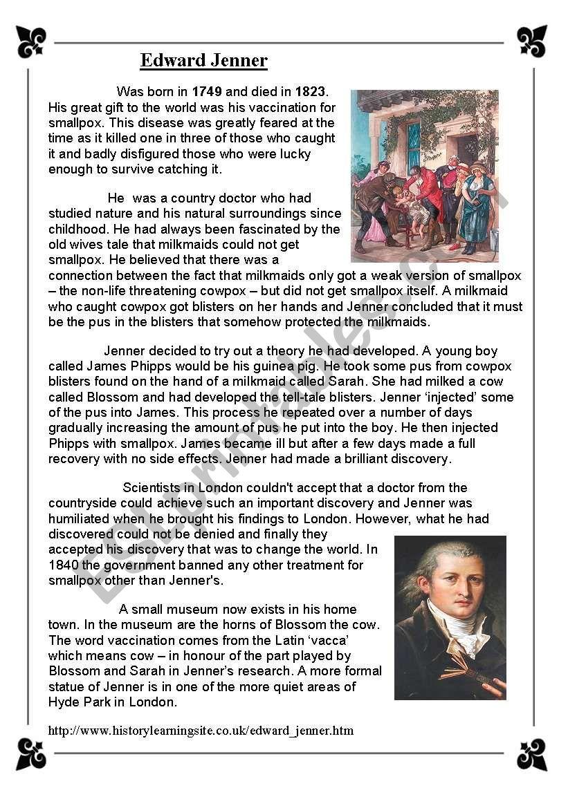 Edward Jenner worksheet