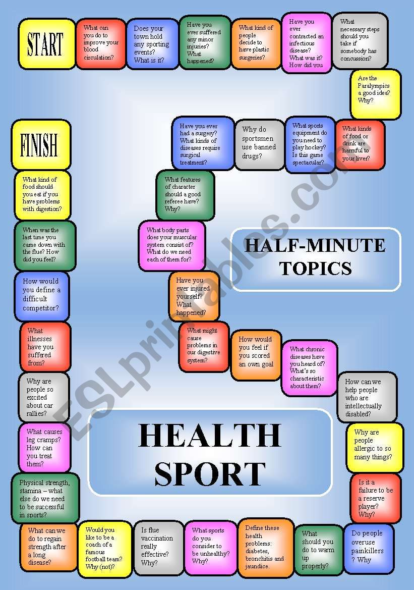 Health and sport - a boardgame or pairwork (34 questions for discussion)