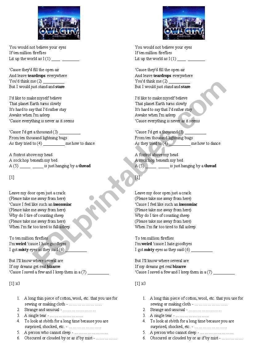 SONG - owl city - fireflies worksheet