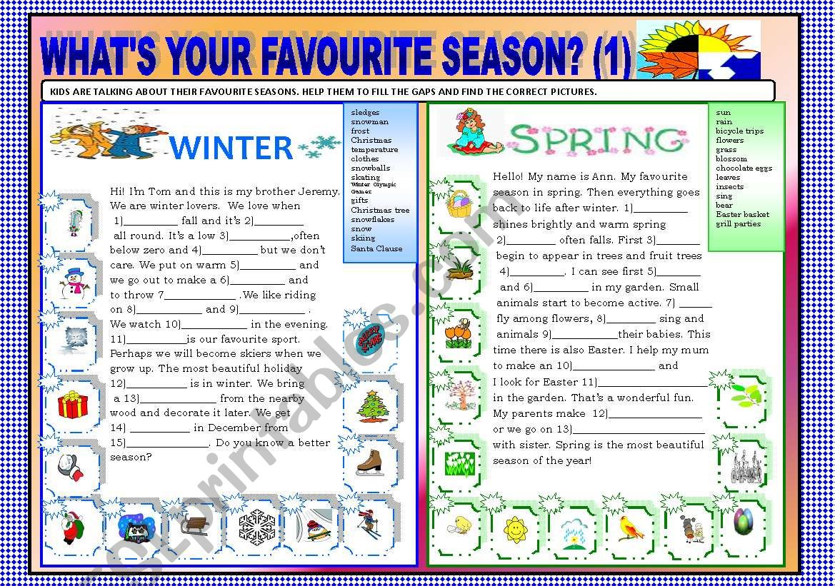 WHAT´S YOUR FAVOURITE SEASON ? PART 1