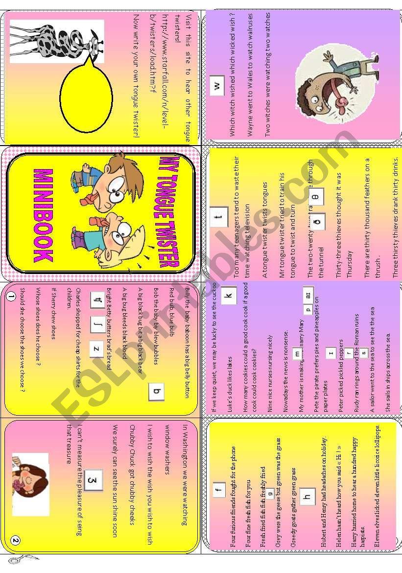 Tongue twister minibook worksheet