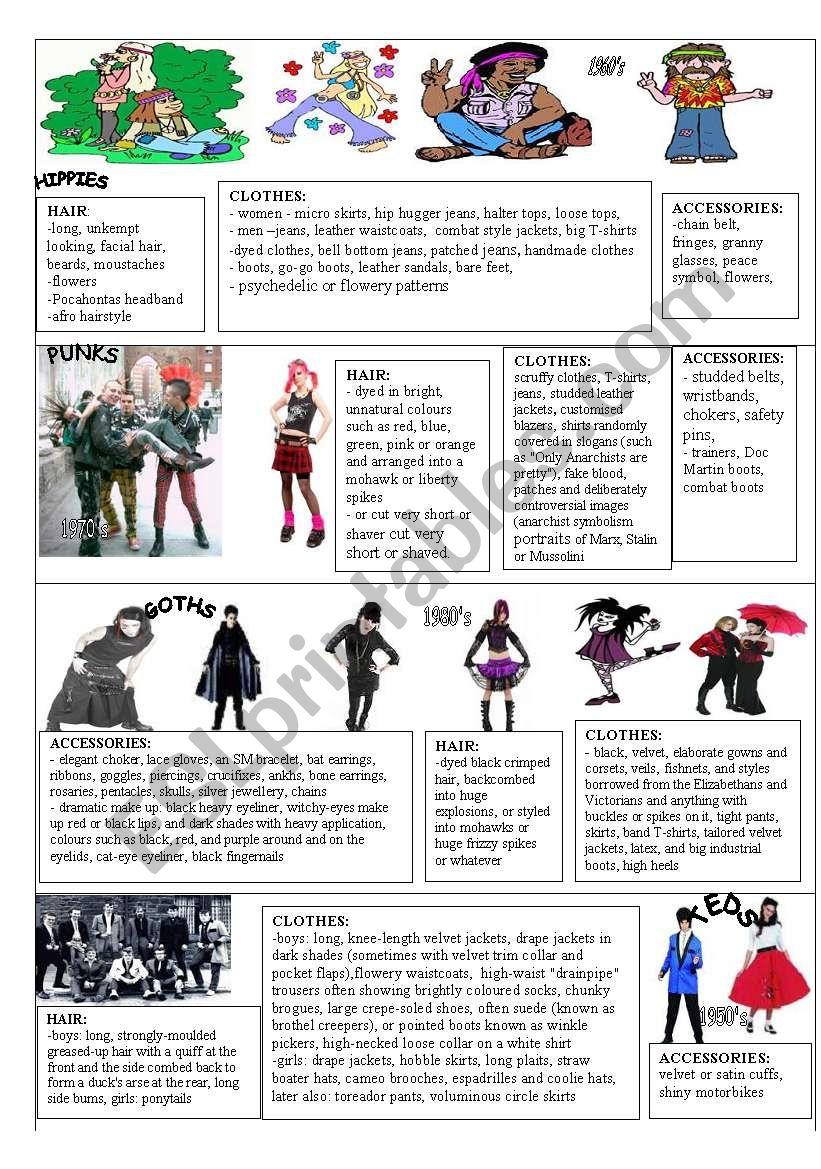 YOUTH FASHION PICTIONARY worksheet
