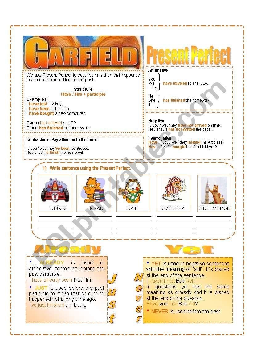PRESENT PERFECT - GARFIELD worksheet