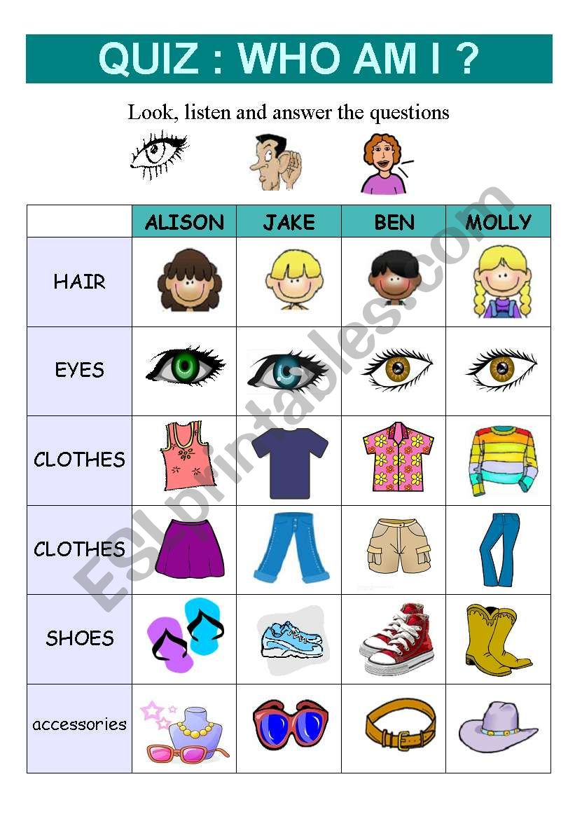 QUIZ : WHO AM I ? (Physical description) - ESL worksheet by