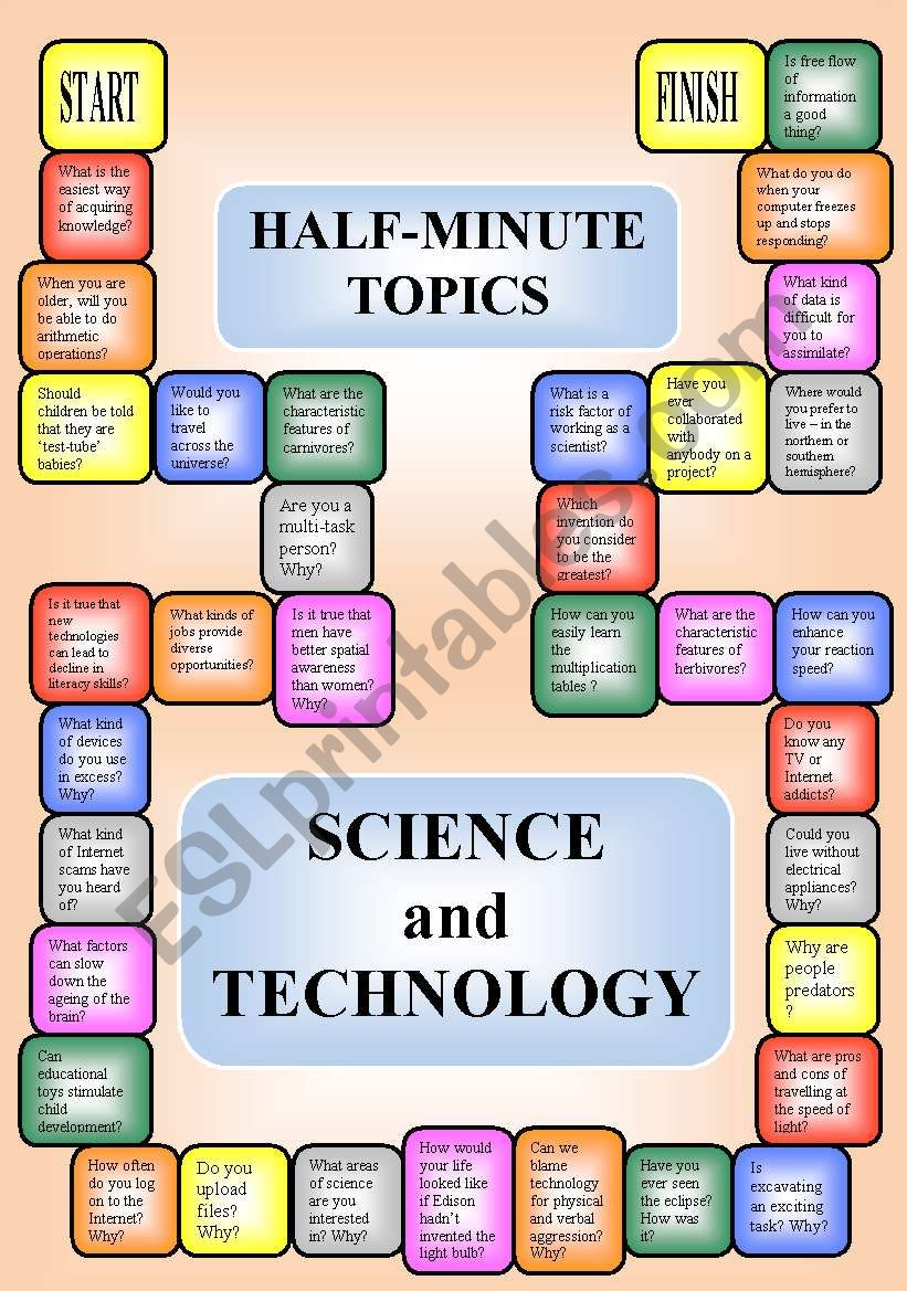 science and technology a boardgame or pairwork 34 questions for discussion esl worksheet. Black Bedroom Furniture Sets. Home Design Ideas