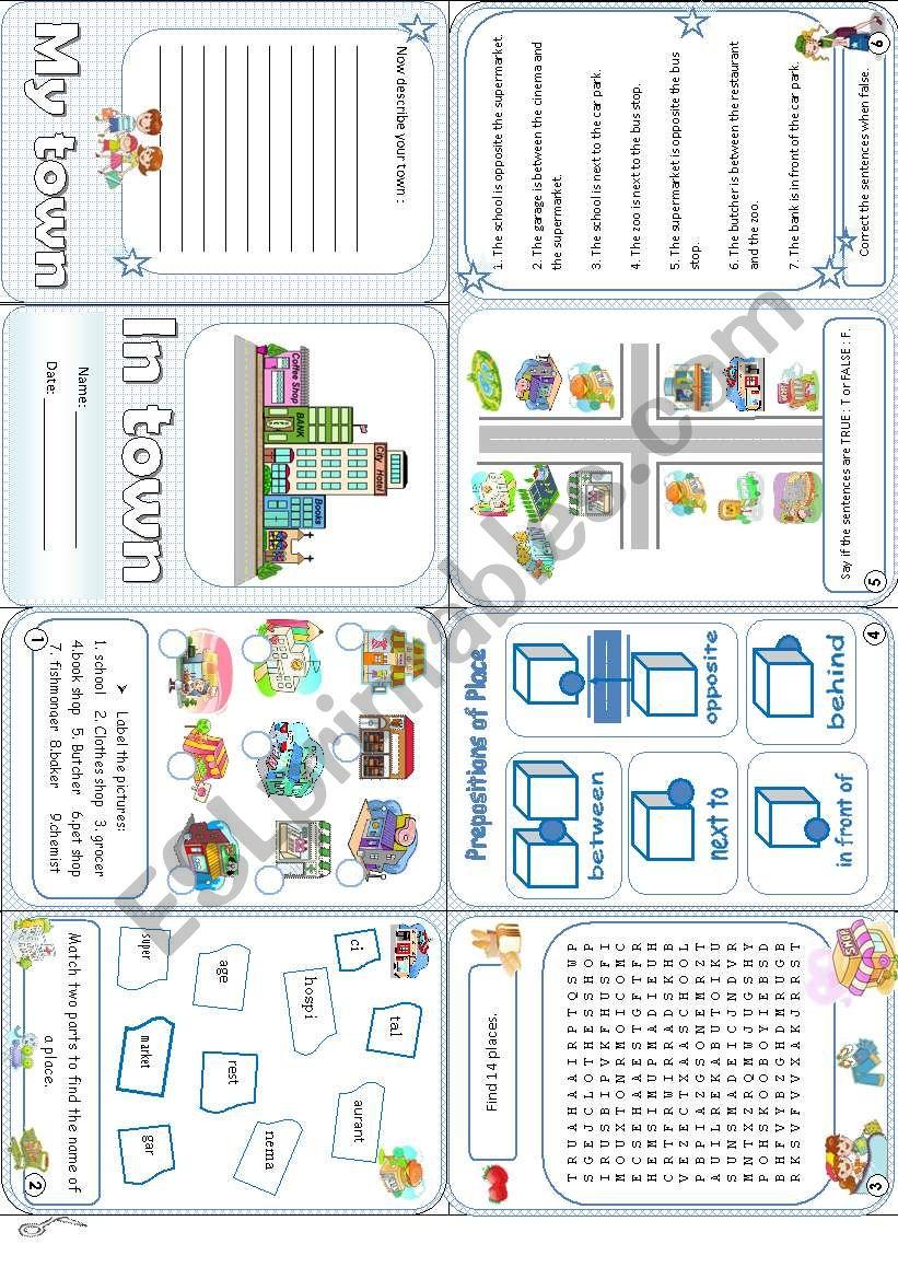 In town minibook worksheet
