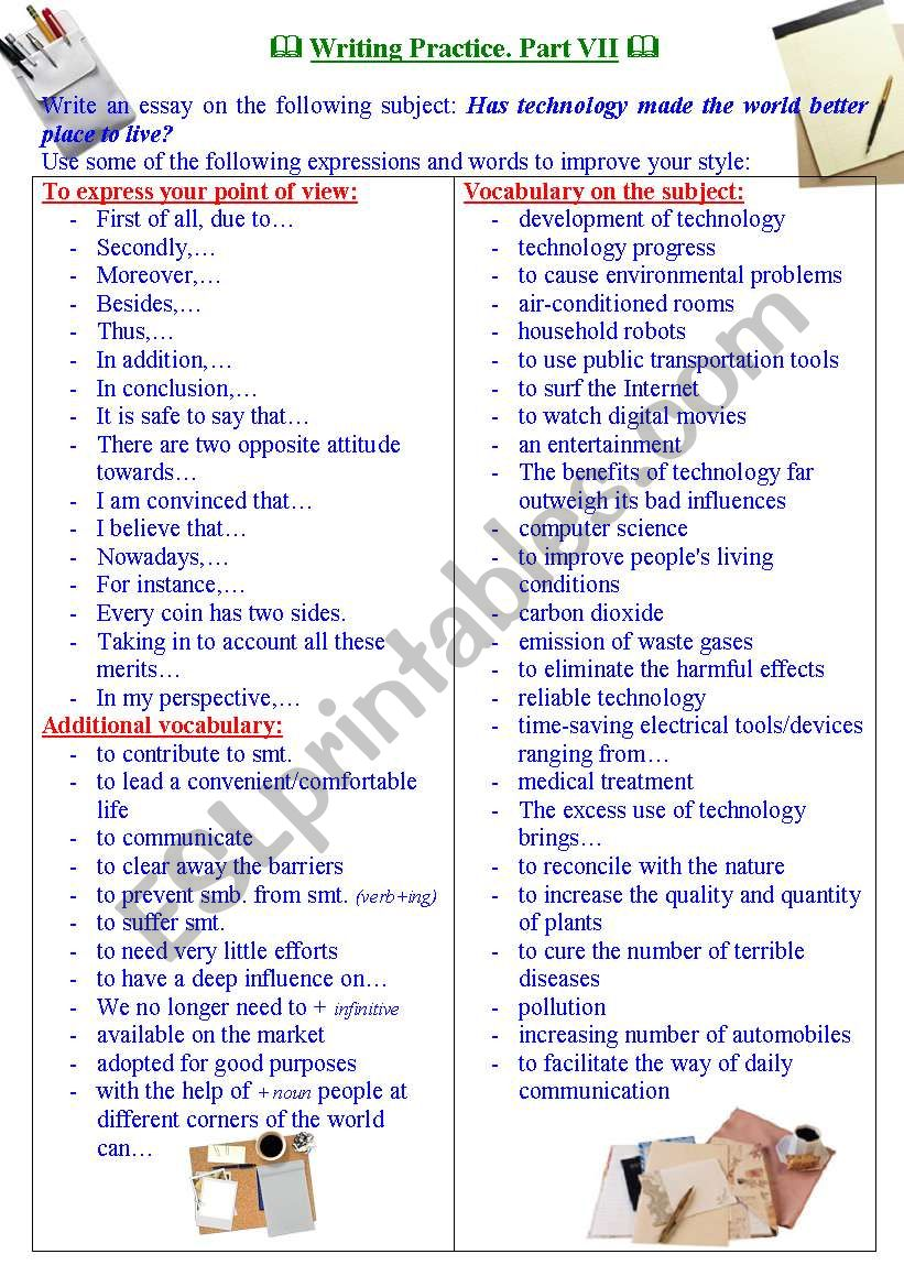 Writing practice for TOEFL/IELTS exams. Useful expressions and vocabulary. Part VII.