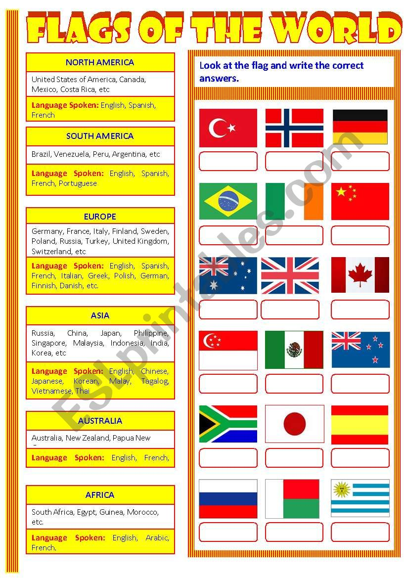 Flags of the World  worksheet