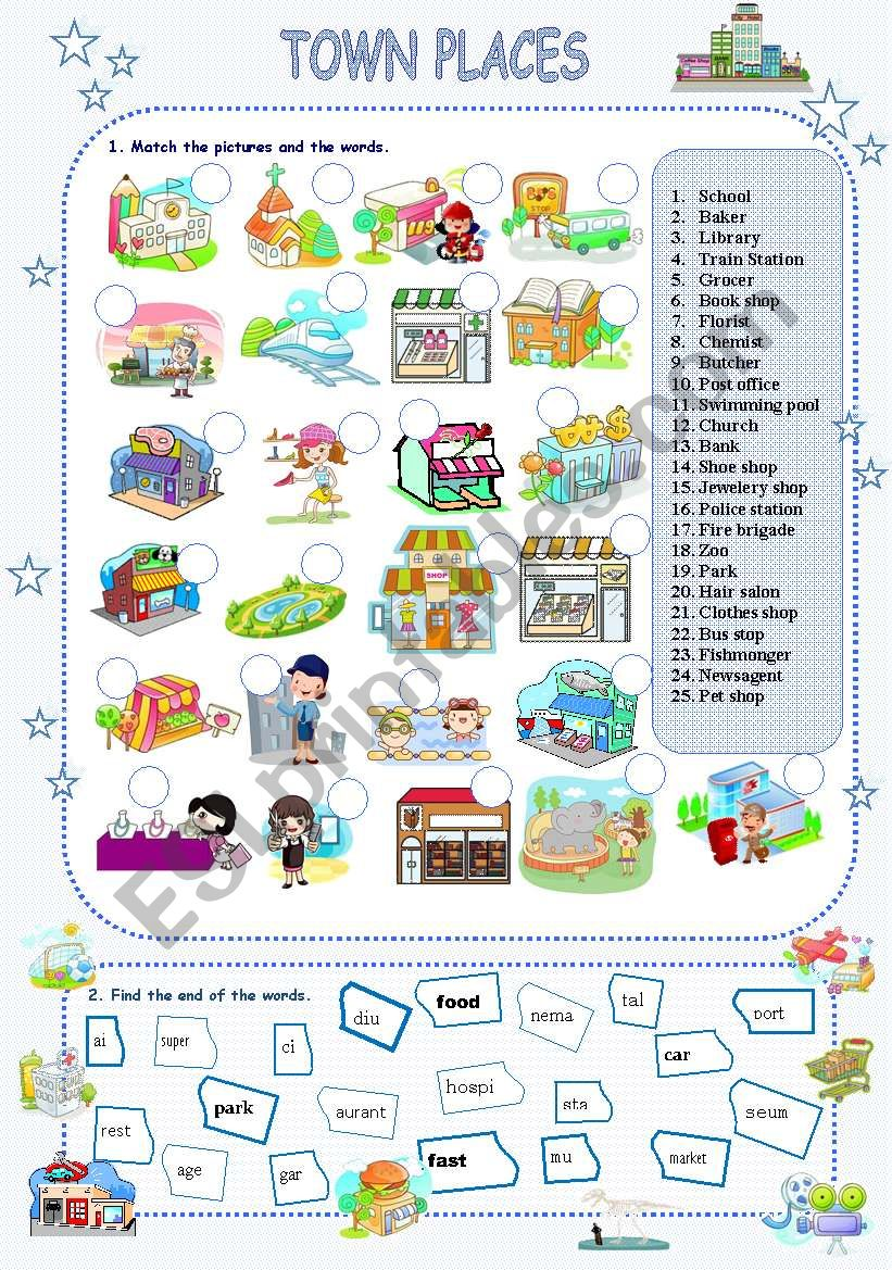 Town places - ESL worksheet by stefemma