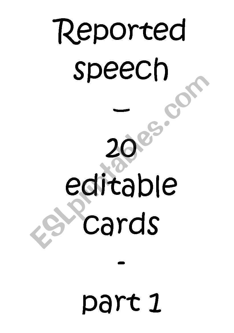 Reported / Indirect Speech Cards - Quotations I/II (Editable)