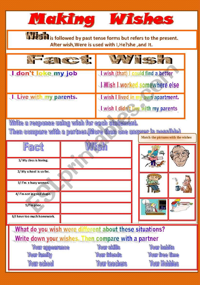 Making Wishes worksheet