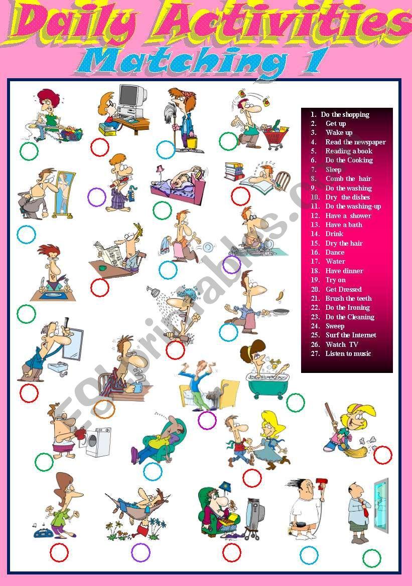 Daily activities Matching 1 worksheet