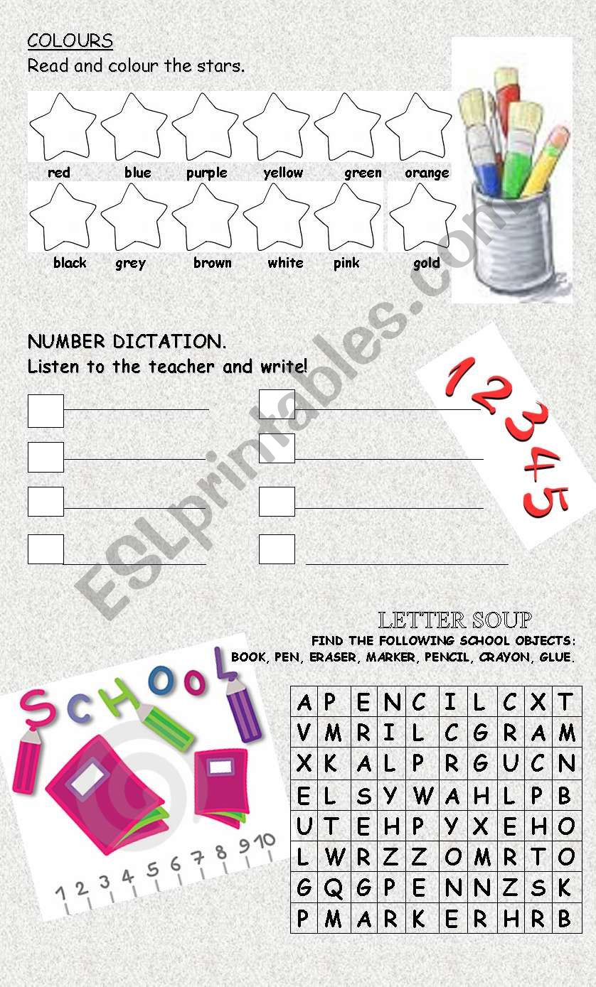 REVISION of COLOUR, NUMBERS & SCHOOL OBJECTS