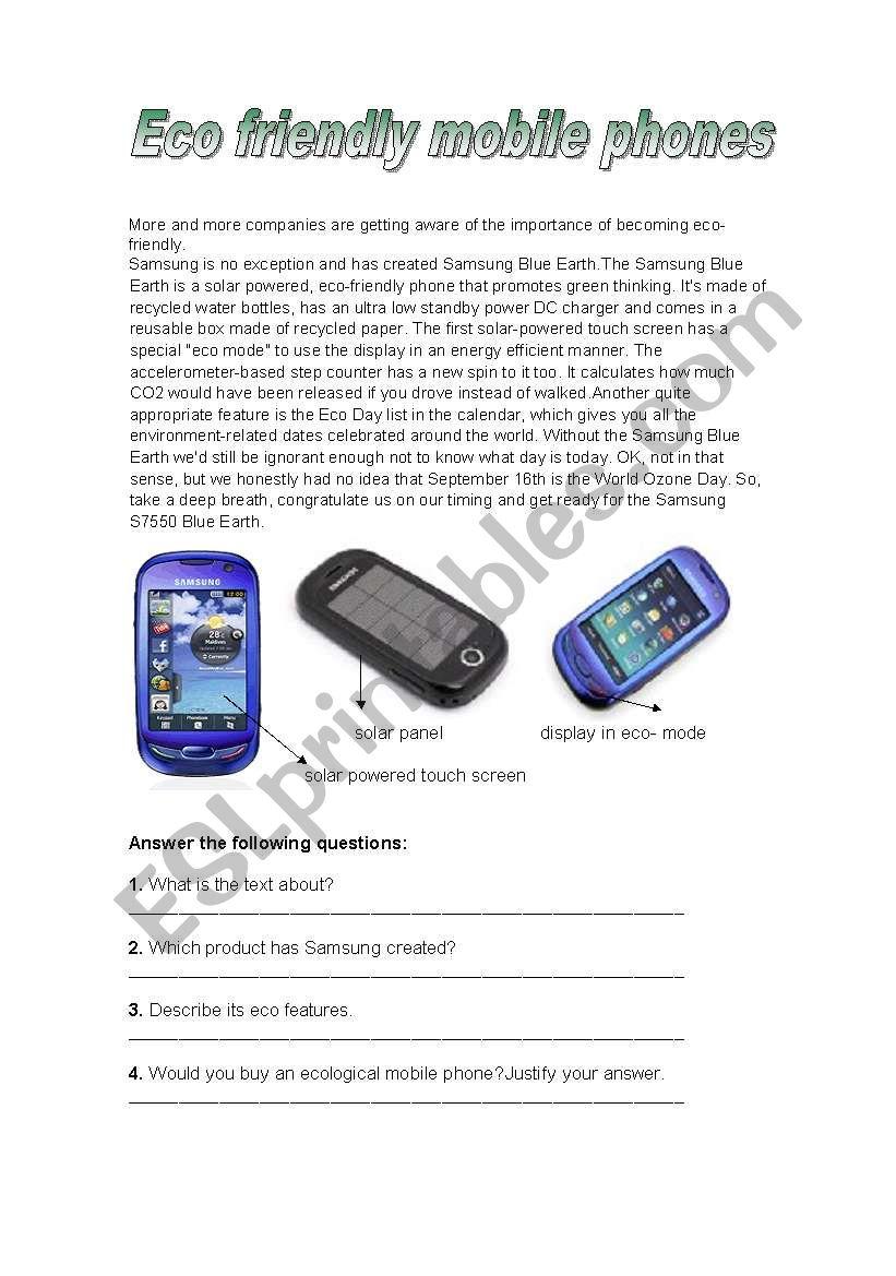 Eco-friendly mobile phones worksheet