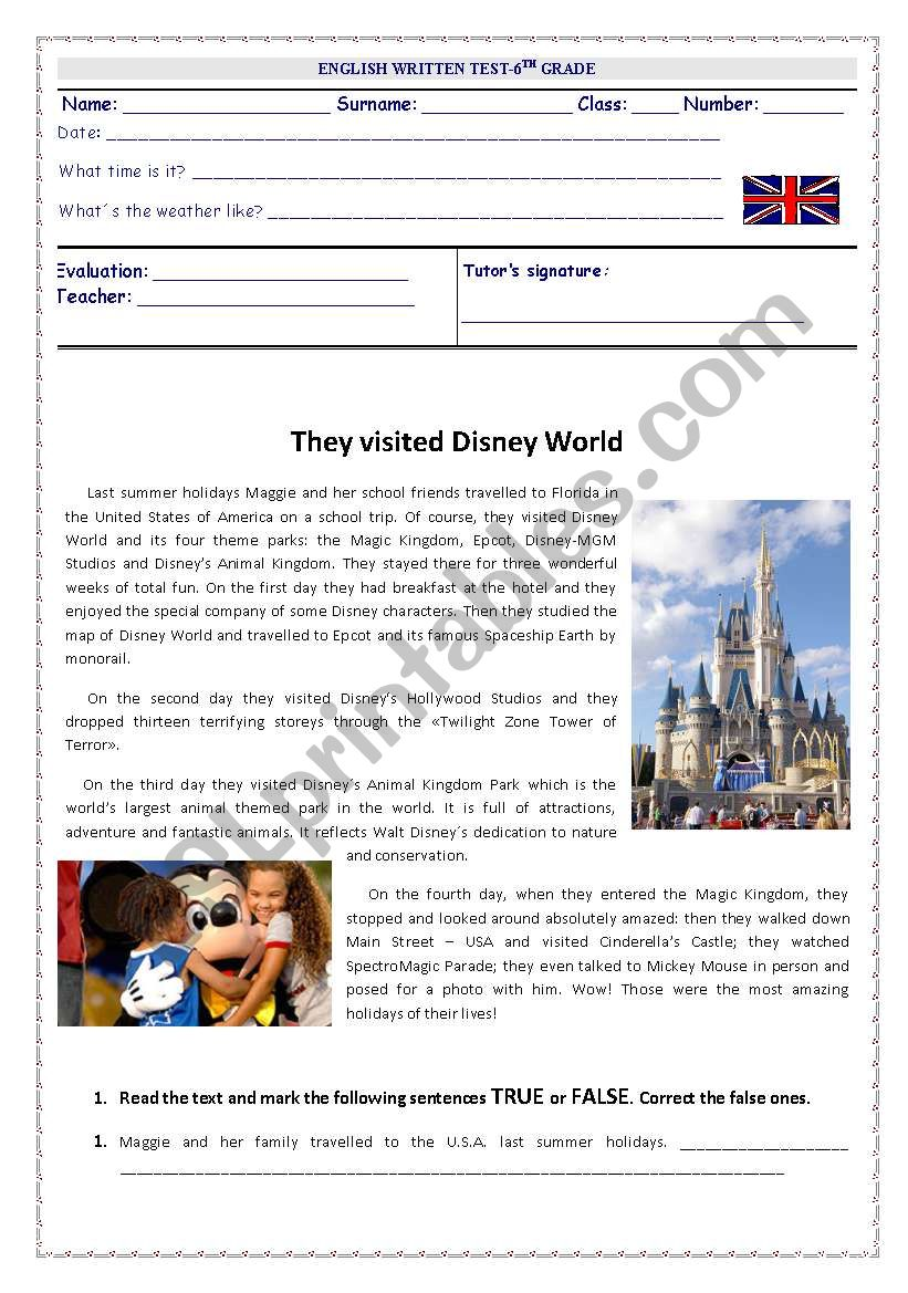 They visited Disney World  worksheet