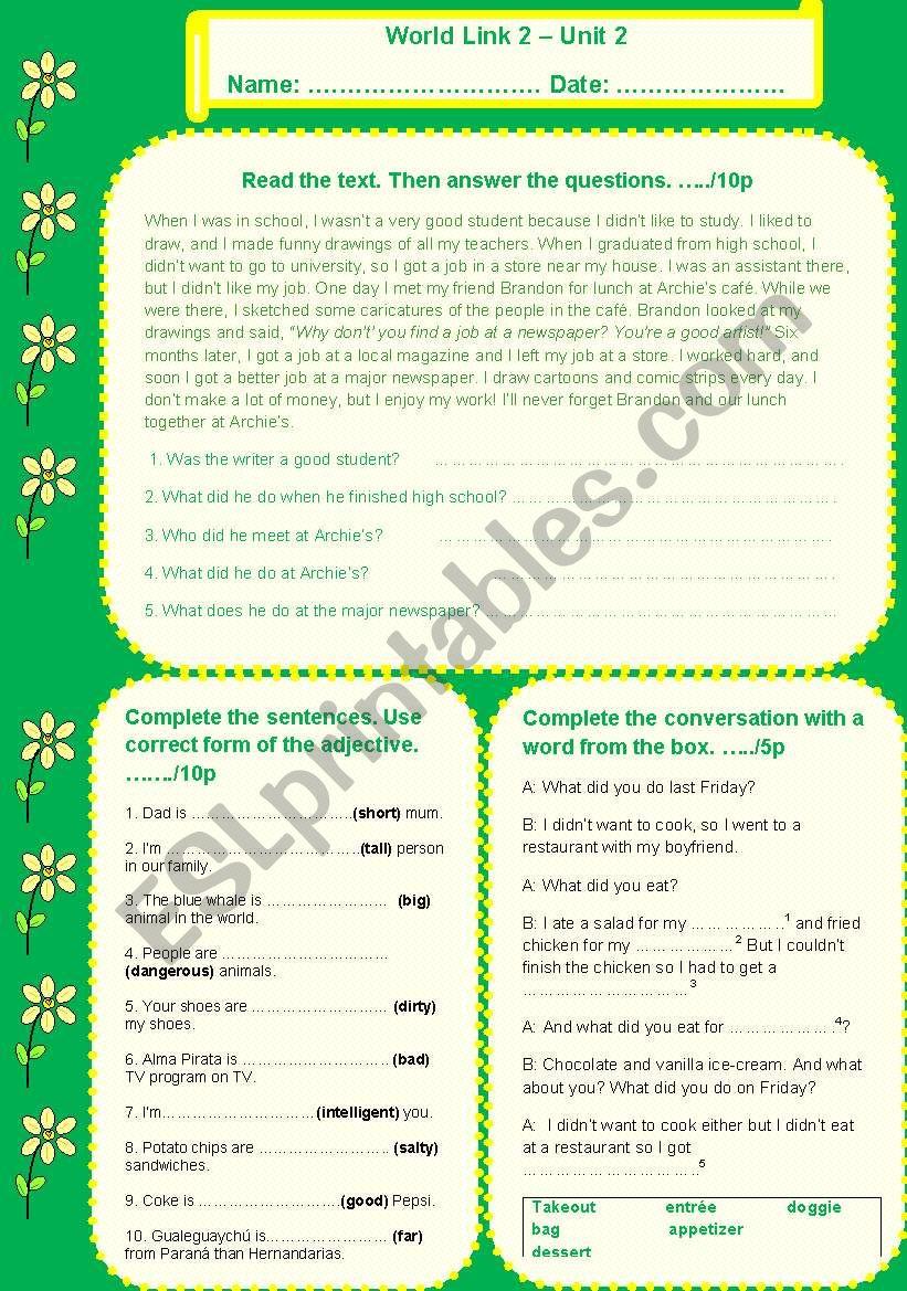 Quiz World Link 2 - UNit 2 worksheet