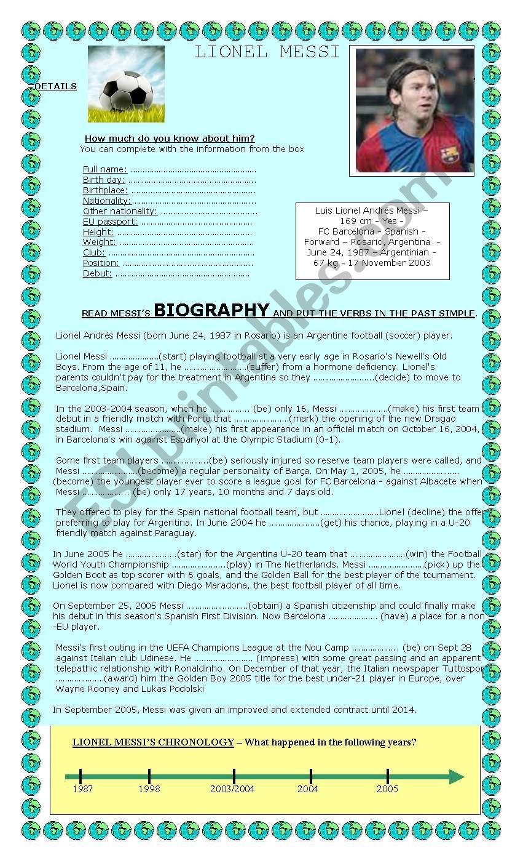 A BIOGRAPHY: LIONEL MESSI worksheet