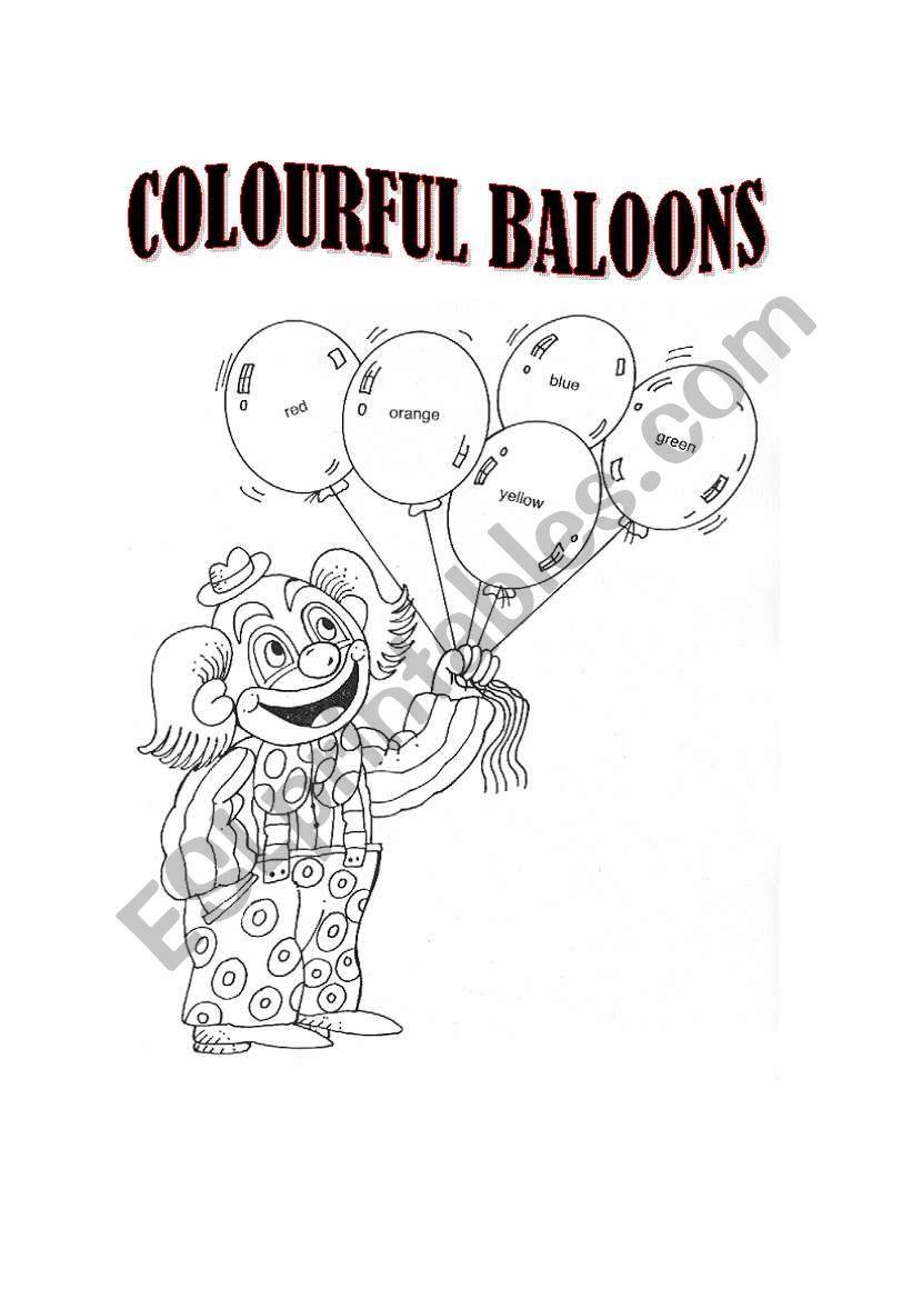 colourful baloons worksheet