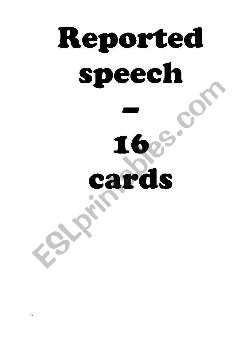 16 Statement Cards - Reported / Indirect Speech -  (Editable)