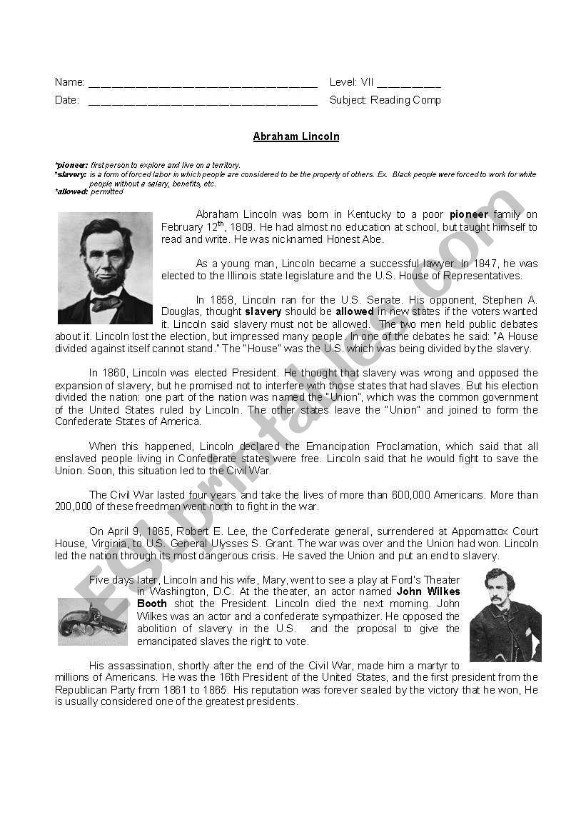 Abraham Lincoln S Biograohy Esl Worksheet By Yamnef