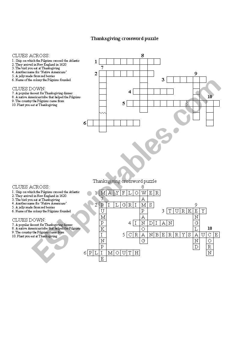 English Worksheets  Thanksgiving Crossword Puzzle  With