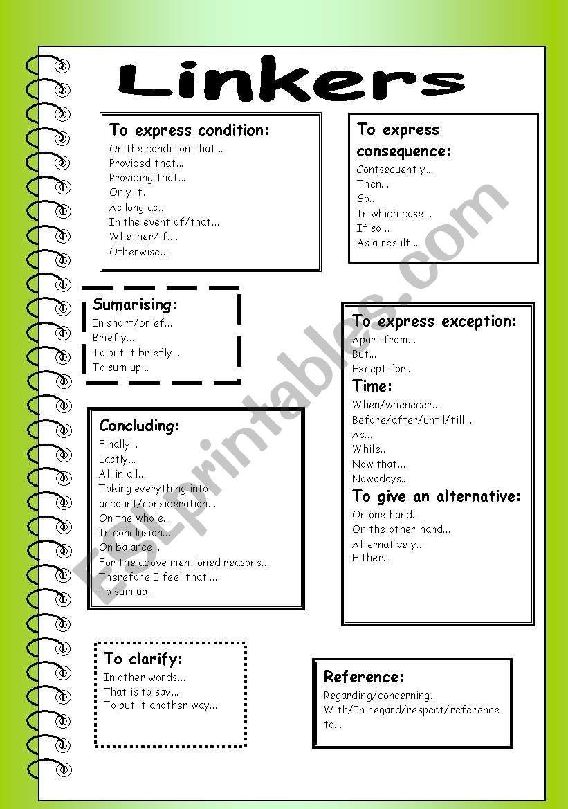 Linkers (part 3) worksheet