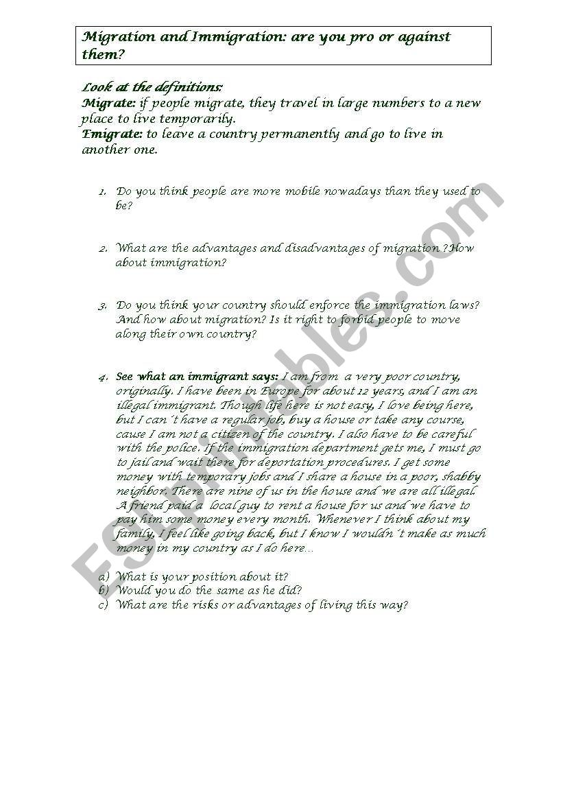 Migration and Immigration worksheet