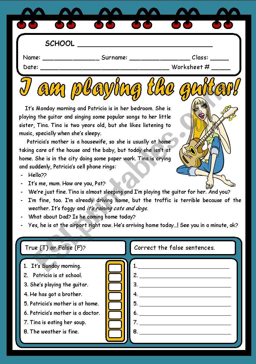 I AM PLAYING THE GUITAR ( 2 PAGES )