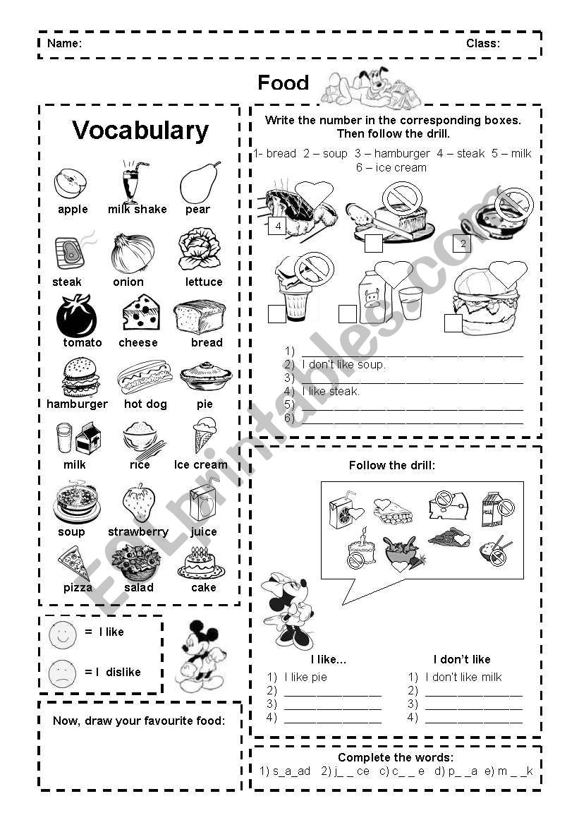 Food: I like and dislike (activities + pictionary)