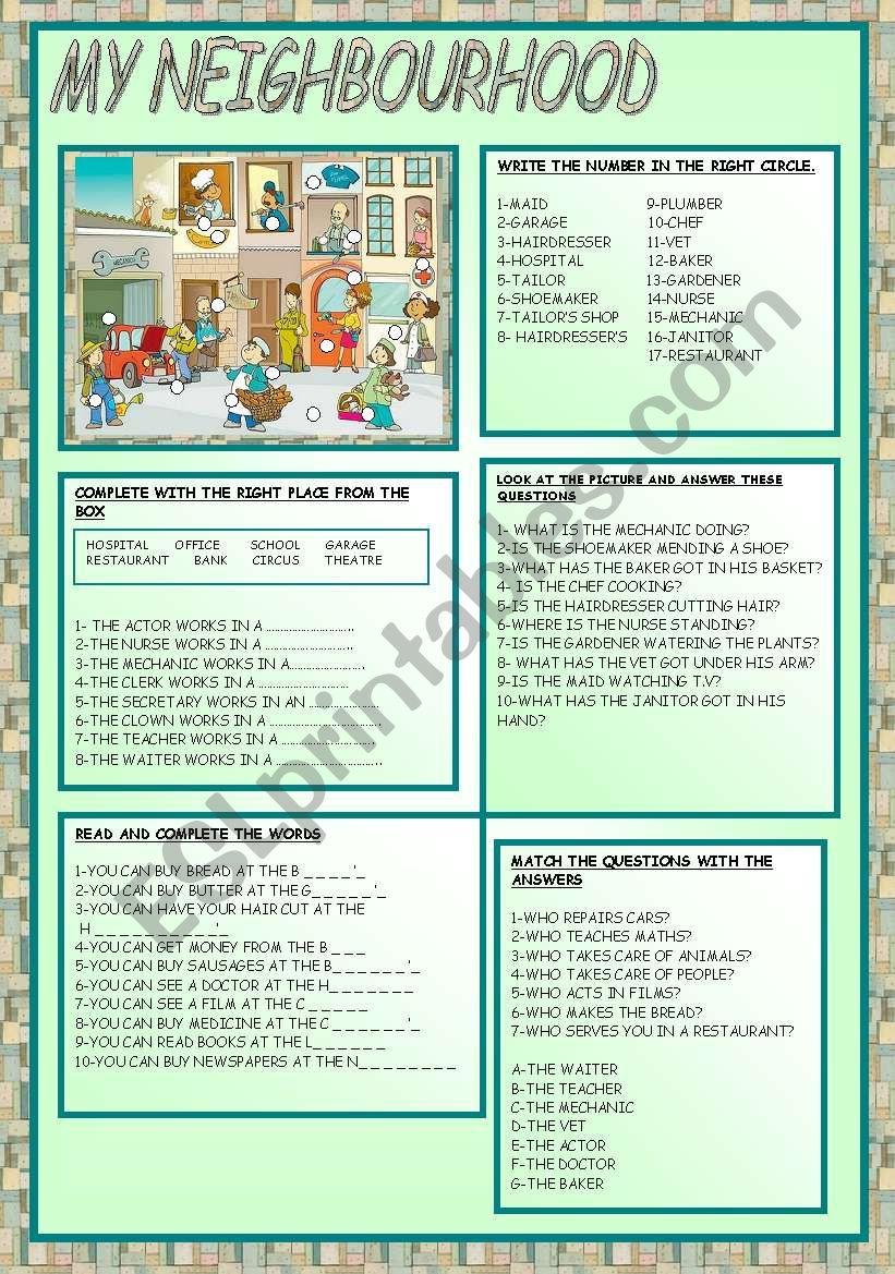 MY NEIGHBOURHOOD - ESL worksheet by ag23