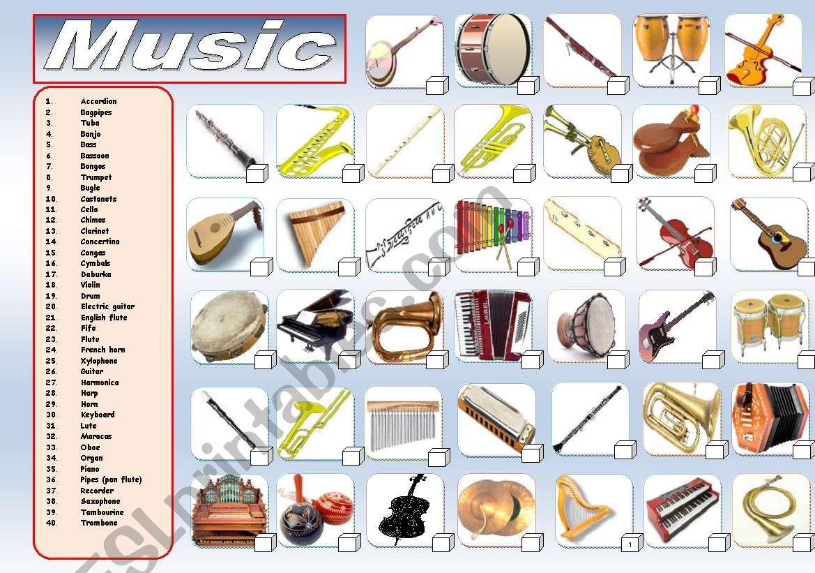 MUSIC: MUSICAL INSTRUMENTS worksheet