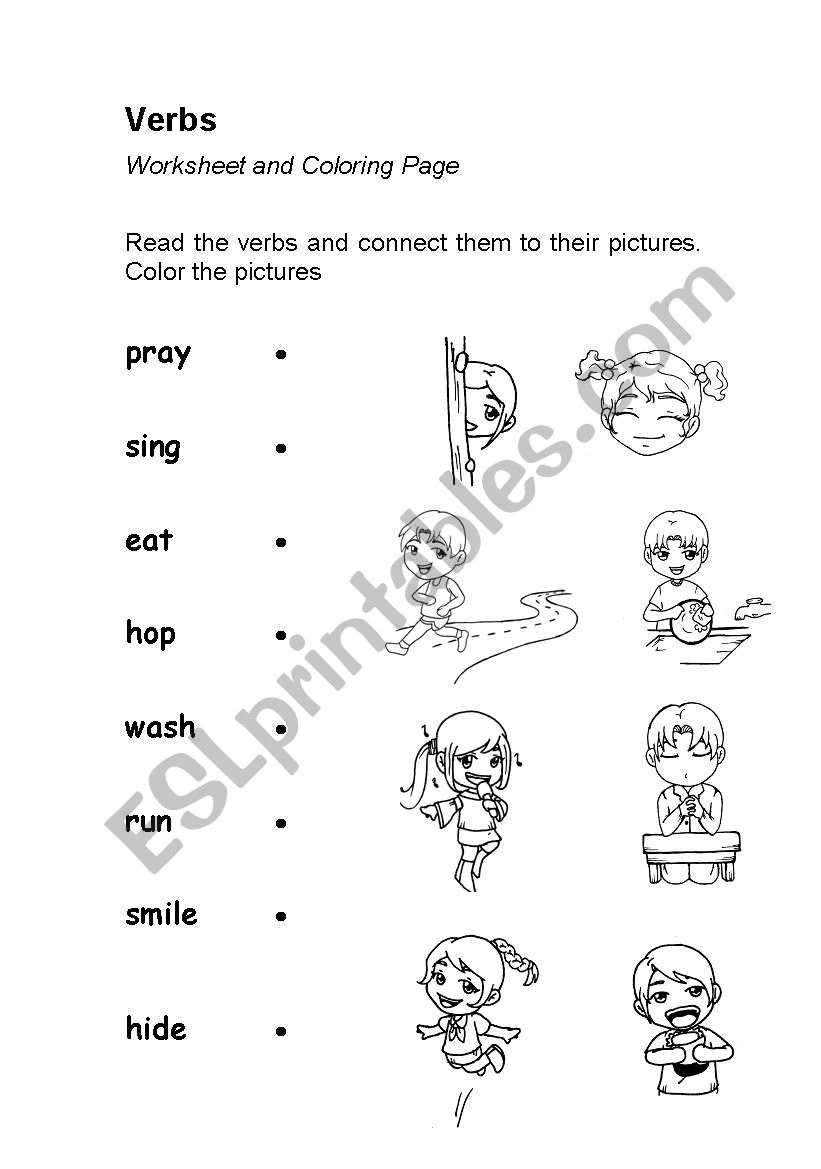 Verbs or Action Words (worksheet & coloring page) - ESL ...