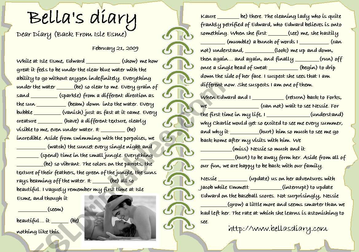 BELLA CULLEN´S DIARY worksheet