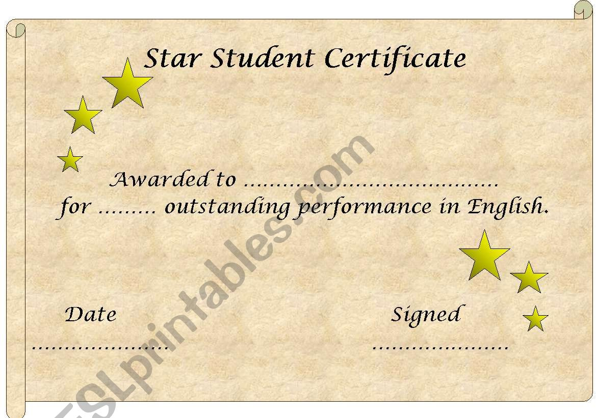 Star Student Certificate template (editable)