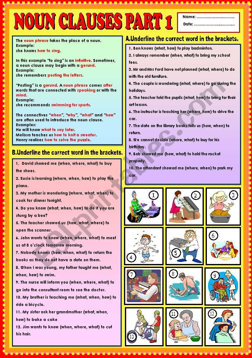 Noun Clauses part 1 (what, when, how,  and where) + KEY