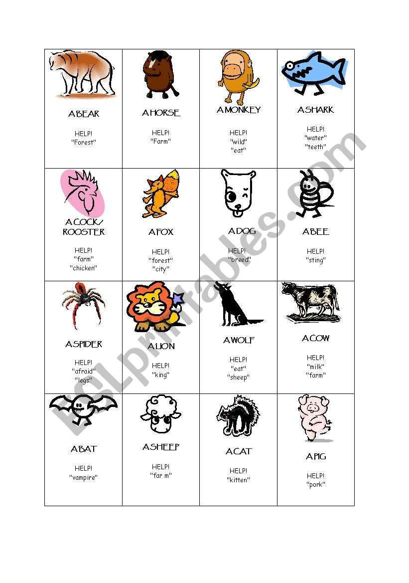Taboo about animals worksheet