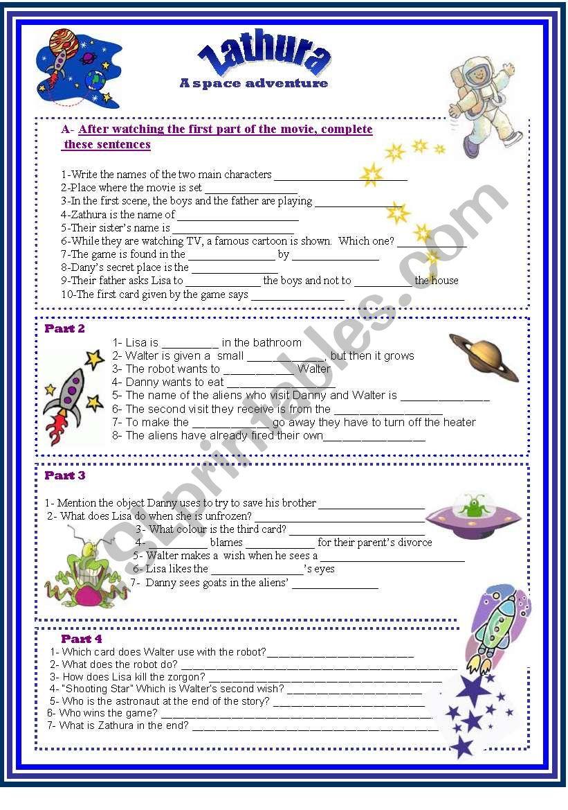 Zathura - A space adventure- - ESL worksheet by gladebi