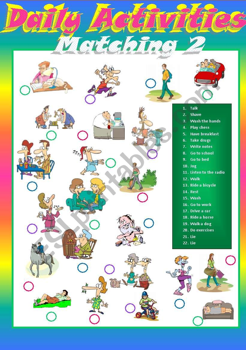 Daily activities Matching 2 worksheet