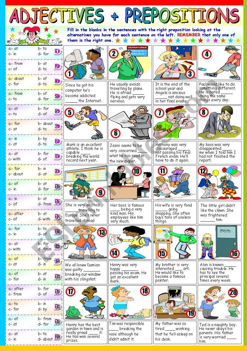 ADJECTIVES+PREPOSITIONS (B&W VERSION+KEY INCLUDED)