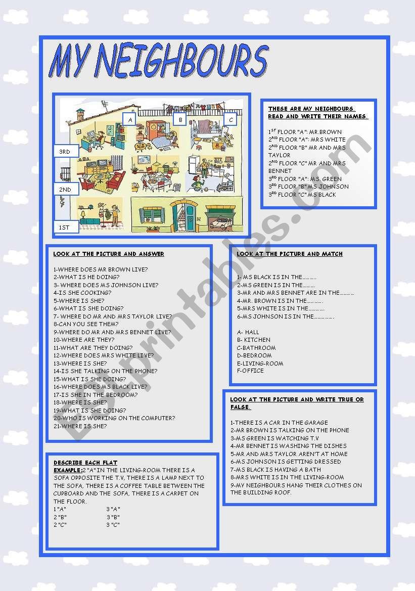 MY NEIGHBOURS worksheet