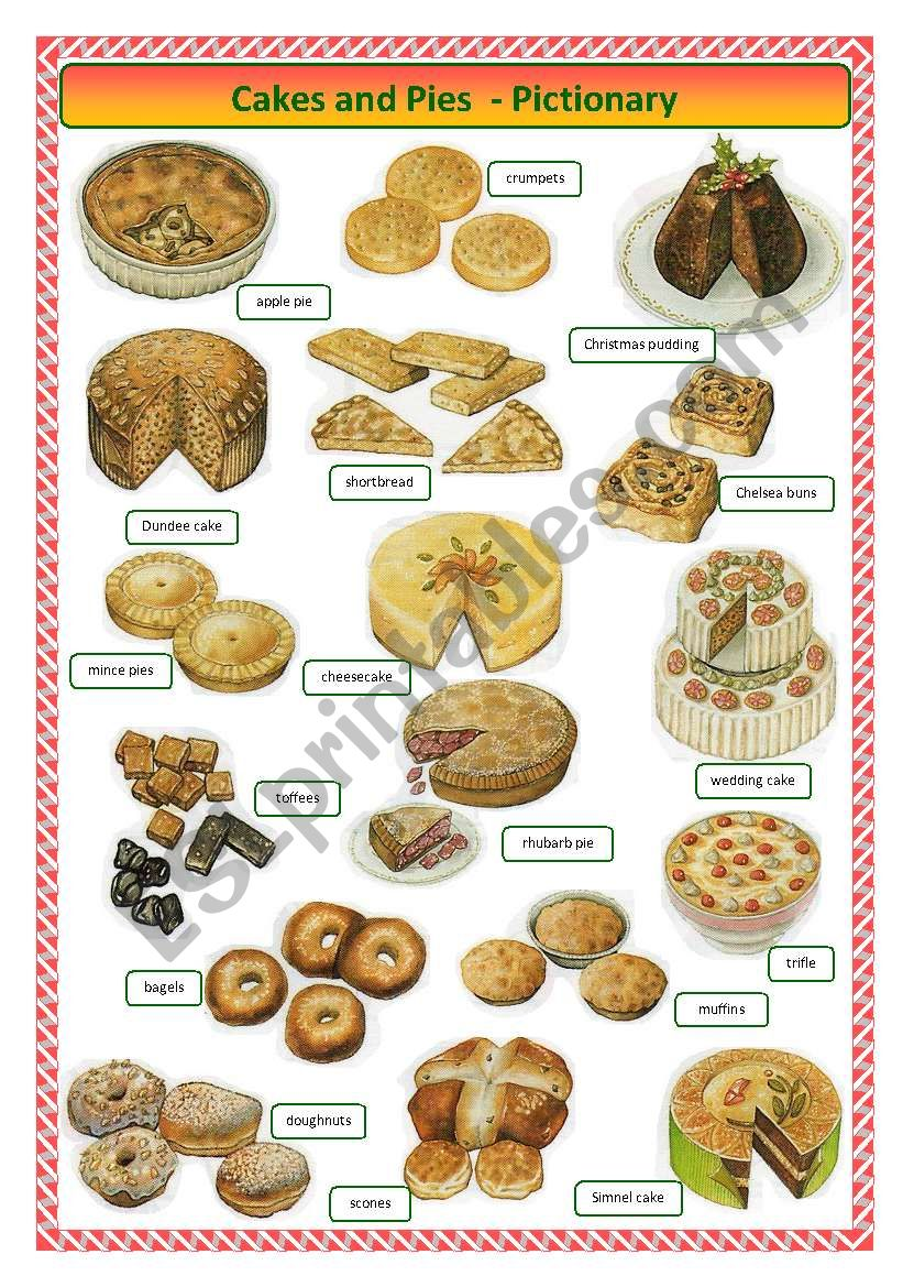 Cakes and pies -pictionary worksheet