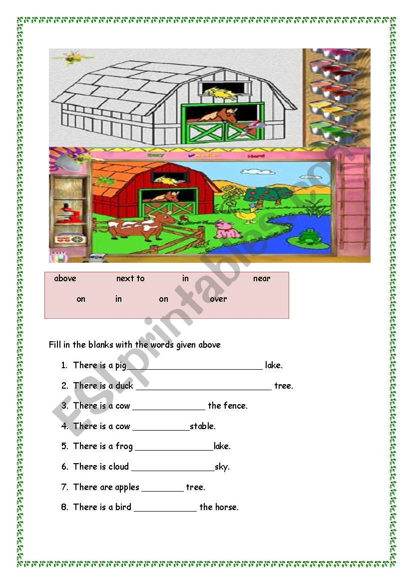 English Worksheets Prepositions In On Under Above Next To
