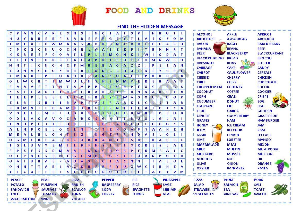 WORDSEARCH FOOD AND DRINKS worksheet