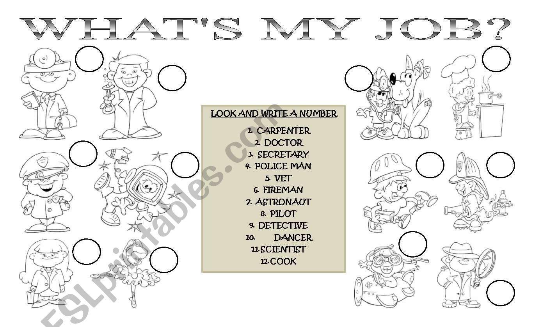 what´s my job? worksheet