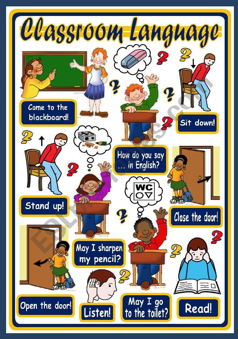 CLASSROOM LANGUAGE - POSTER 1 worksheet