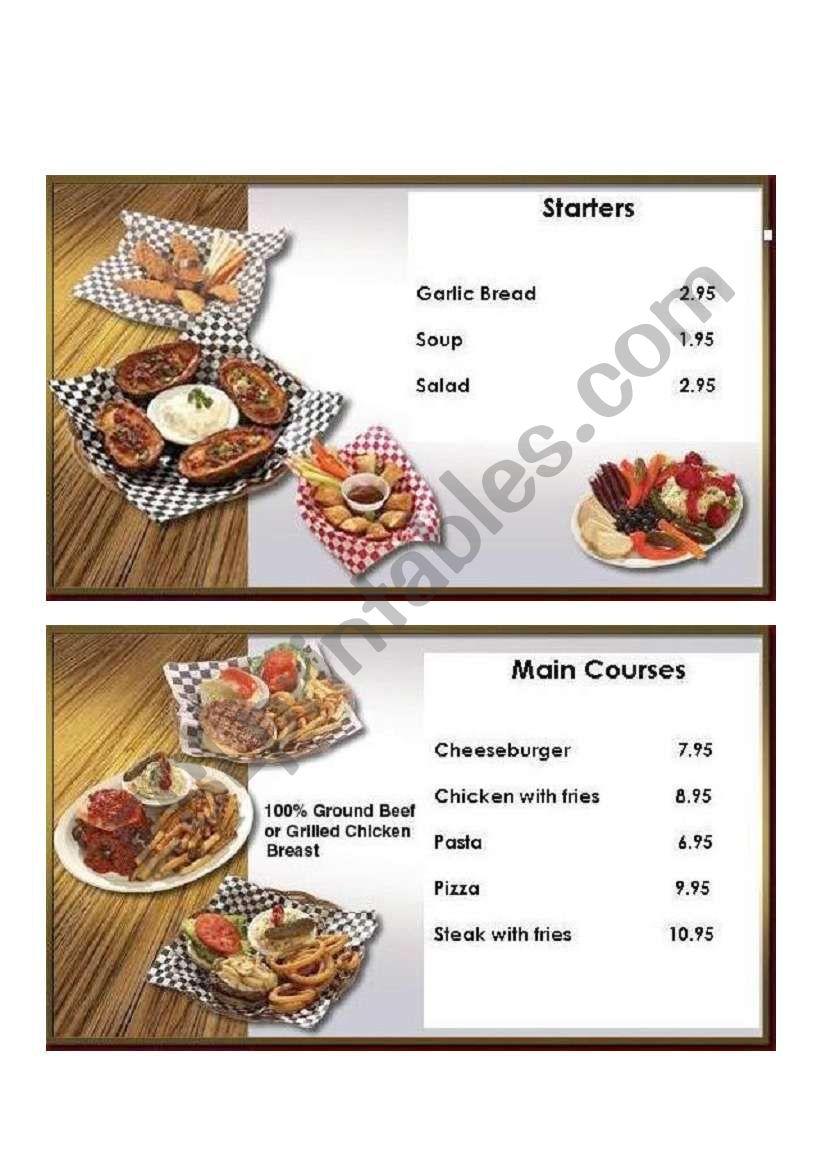 simple restaurant menu esl worksheet by jacknamara