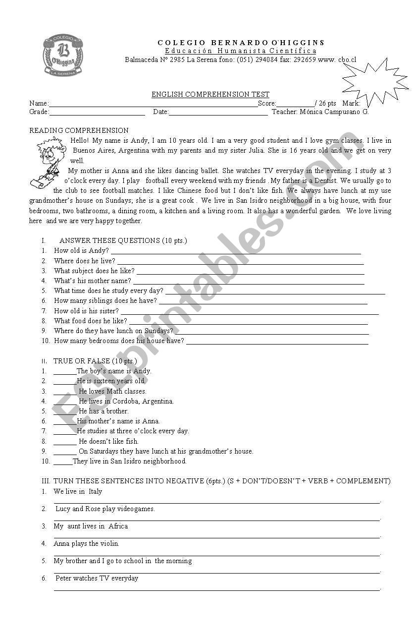 reading present simple worksheet