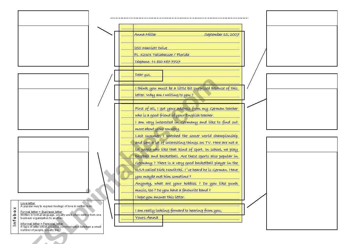 Personal Letter worksheet