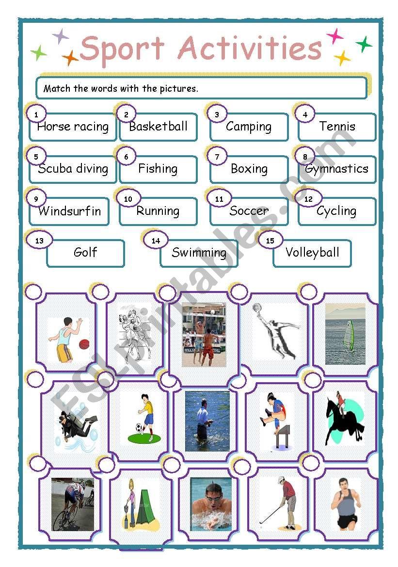 Sport activities worksheet